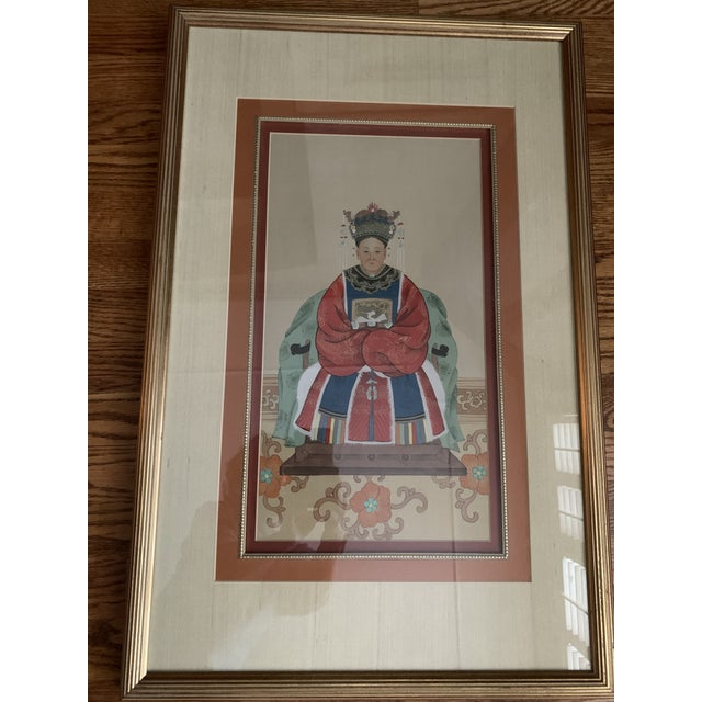 Realism Chinese Ancestral Portraits Early 20th Century Paintings on Paper - a Pair For Sale - Image 3 of 9
