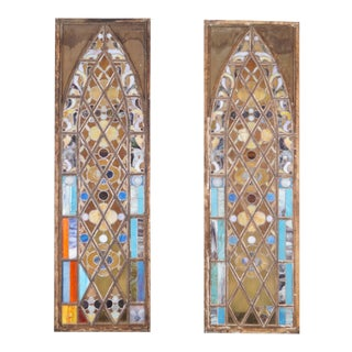Vintage Stained Glass Windows - a Pair For Sale