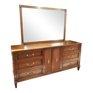1960s Dixon Powdermaker Mid Century Magnolia Wood Dresser With Mirror For Sale