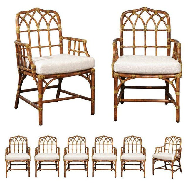 Set of Eight 1970s Cathedral Back Arm Dining Chairs by McGuire For Sale - Image 13 of 13