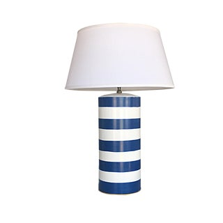 Dana Gibson Navy Stripe Table Lamp For Sale