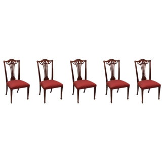 Greenbaum Interiors Victorian Carved Wood Dining Chairs - Set of 5 For Sale