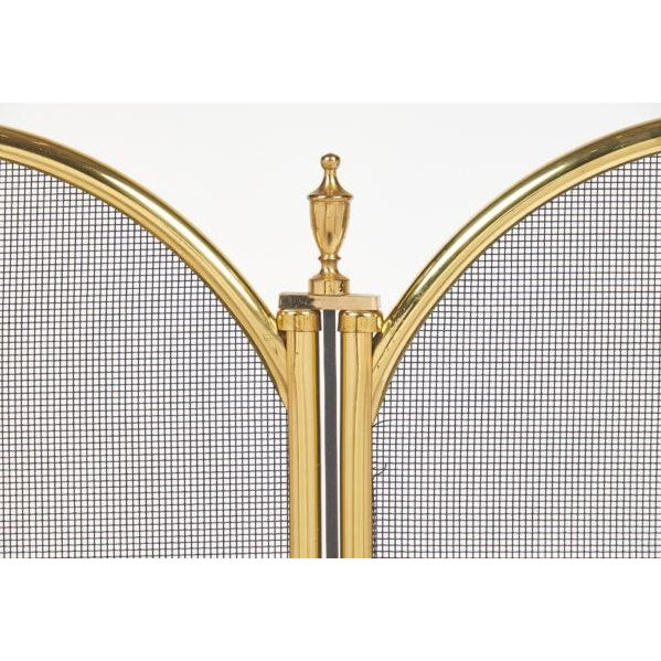Gold Vintage French Neoclassical Brass Fire Screen For Sale - Image 8 of 10