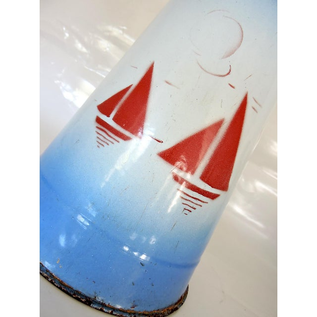 1960s Large French Enamel Blue & White Pitcher or Jug - Red Yachts For Sale - Image 5 of 7