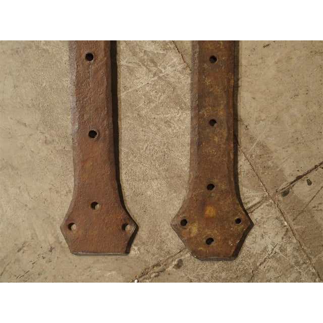 Gothic Pair of 15th Century Iron Door Straps from France For Sale - Image 3 of 8