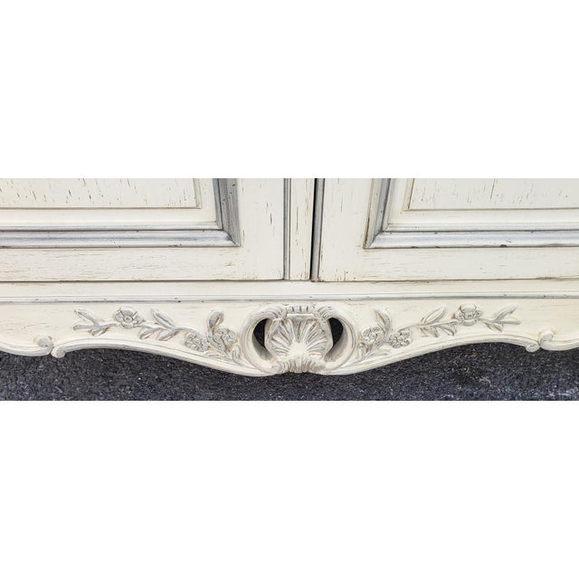 1990s Painted White Century Furniture French Provincial Double Door Bedroom Tv Armoire Cabinet C1990s For Sale - Image 5 of 12
