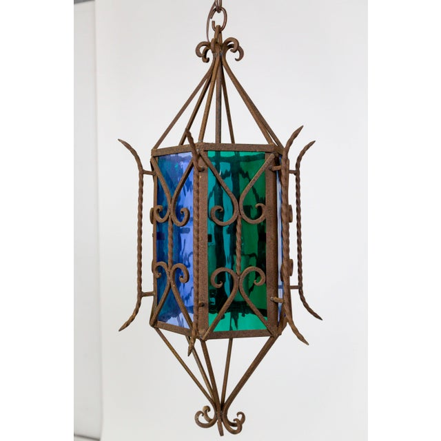 1920s Gothic Revival Lantern With Blue & Green Glass For Sale - Image 10 of 11