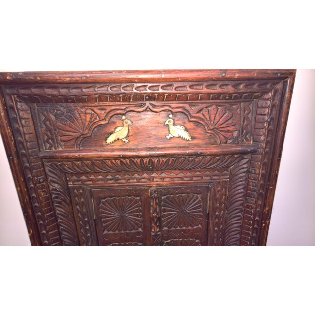 Vintage Afghan Carved Wooden Wall Shutters & Mirror For Sale - Image 5 of 7