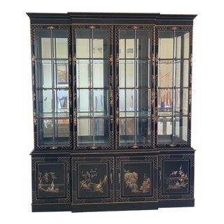 Vintage Union National Chinoiserie China and Display Cabinet For Sale