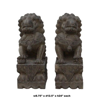 Chinese Pair Distressed Brown Gray Stone Fengshui Foo Dogs Statues Preview