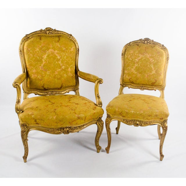 Early 20th C. French Louis XV Style Carved Giltwood Side Chairs - A Pair For Sale - Image 13 of 13