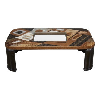 "1990s Contemporary ""Lifestyle"" Coffee Table With Exotic Natural Inlay and Glass Insert For Sale"