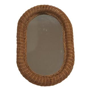 1970s Vintage Oval Wicker Mirror For Sale