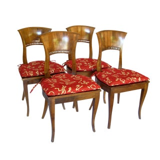19th Century Biedermeier Fruitwood Dining Side Chairs - 4 Pieces
