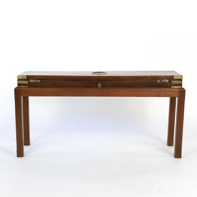 English mahogany campaign gun box on later mahogany stand, circa 1840, lovely brasses re-enforce the corners for...