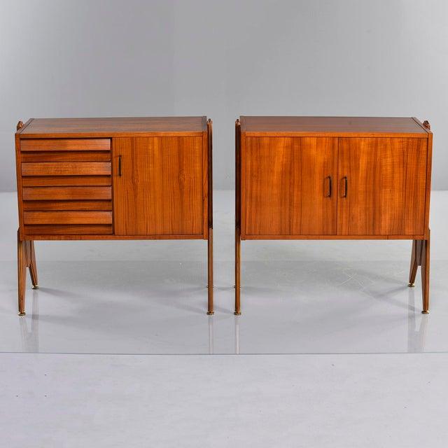 1970s Pair Mid Century Italian Adjustable Height Teak Side Cabinets For Sale - Image 5 of 13