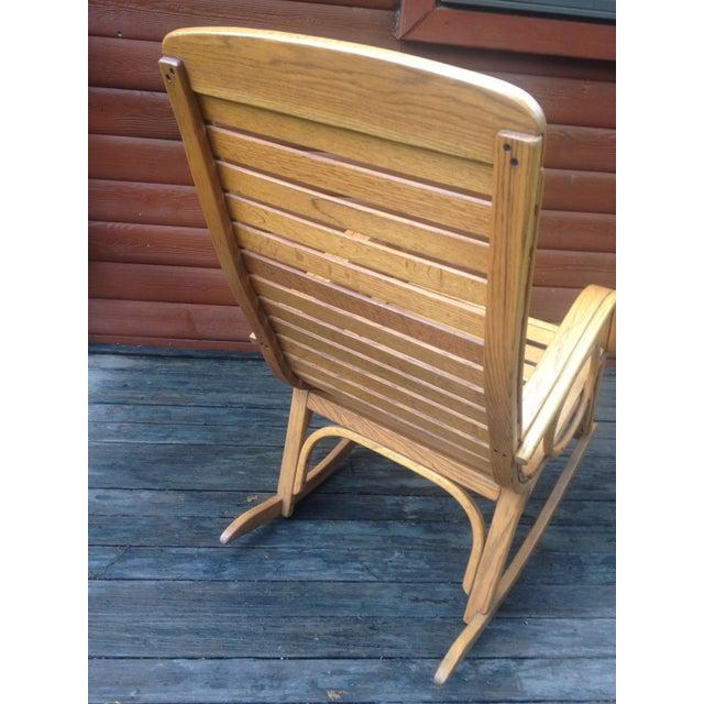 1990s Vintage R. Benna Bent Oak Slat Back Rocking Chair For Sale - Image 4 of 13