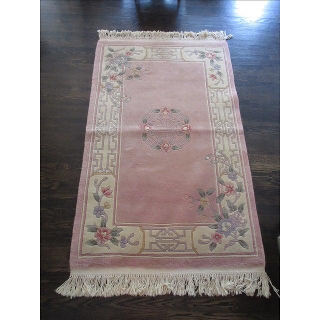 Asian Pink & White Runner Rug - 3′6″ × 6′6″ - Image 2 of 10