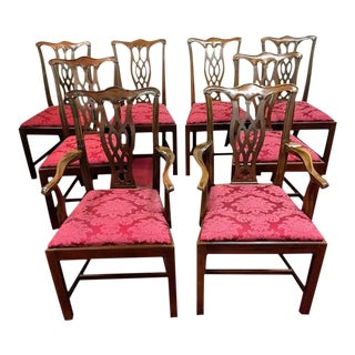 1990s Vintage Hickory Chair Mahogany Dining Chairs - Set of 8 For Sale