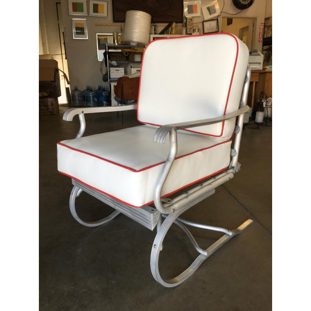 Mid-Century Aluminum Springer Rocking Chair For Sale - Image 4 of 7