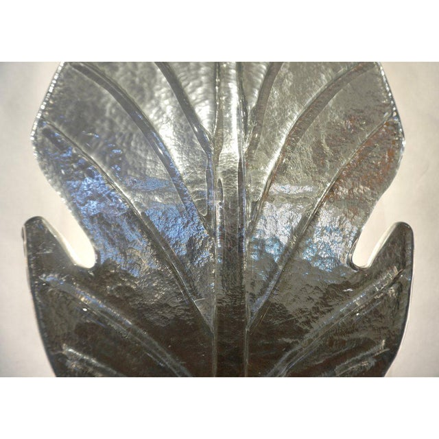 Barovier e Toso 1980 Italian Vintage Nickel Pair of Tall Silver Color Murano Glass Leaf Sconces For Sale - Image 4 of 10