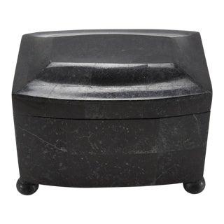 1990s Post Modern Medium Black Tessellated Stone Box on Bun Feet For Sale