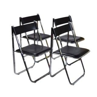 Set 4 Arrben Tamara Italian Modernist Chrome Black Leather Folding Chairs #1 For Sale