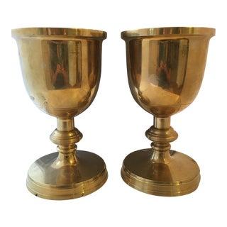 Monumental Brass Pedestal Urns - a Pair