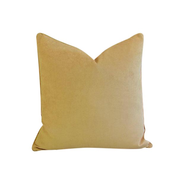 "Rich Golden Velvet Feather/Down Pillow 24"" Square For Sale"