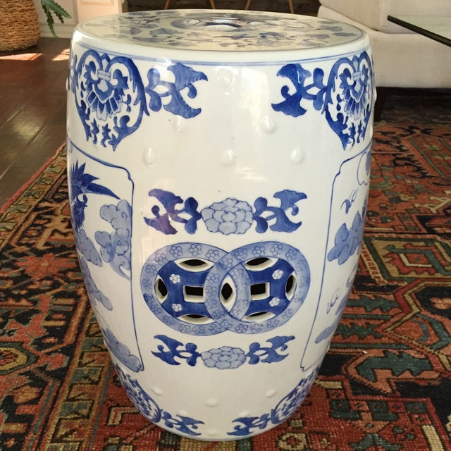 Large Chinoiserie Ceramic Garden Stool - Image 6 of 9