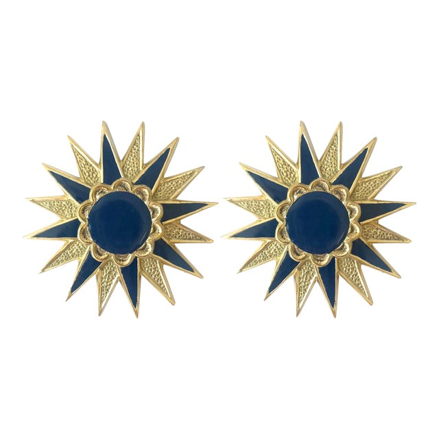 Addison Weeks Michelle Nussbaumer Large Star Backplate & Enamel Knob, Brass & Navy - a Pair For Sale