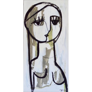 """She's a Sign of the Times"" Contemporary Minimalist Figurative Acrylic Painting by Craig Greene For Sale"