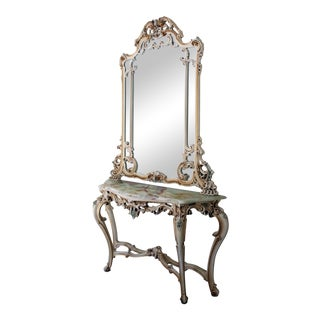 Silik Italian Rococo Large Antique White Mirror and Marble Top Console Table with Mirror For Sale