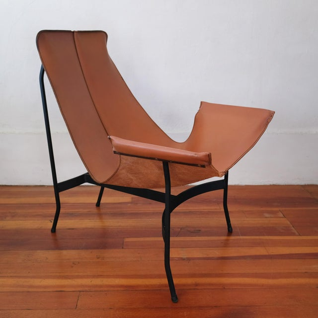 William Katavolos William Katavolos for Leathercrafter Leather and Iron Sling Chair For Sale - Image 4 of 10