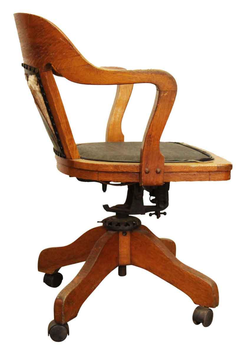 Wooden Rolling Desk Chair With Vinyl For Sale   Image 4 Of 9