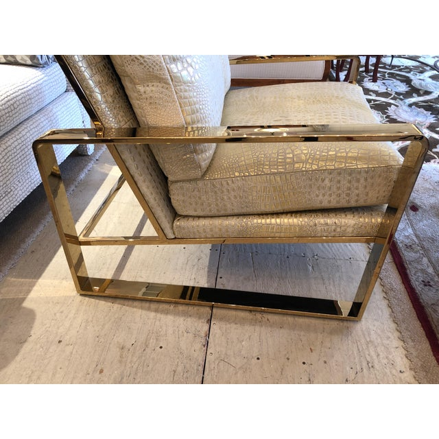 Metallic Faux Crocodile and Brass Club Chair For Sale - Image 9 of 13