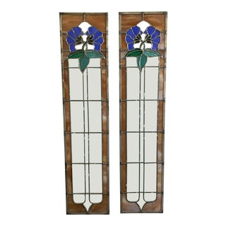 1980s Vintage Art Nouveau Style Stained Glass Windows For Sale