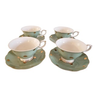 Cynthia Rowley New York Porcelain Teacup and Saucer - Service for 4 For Sale