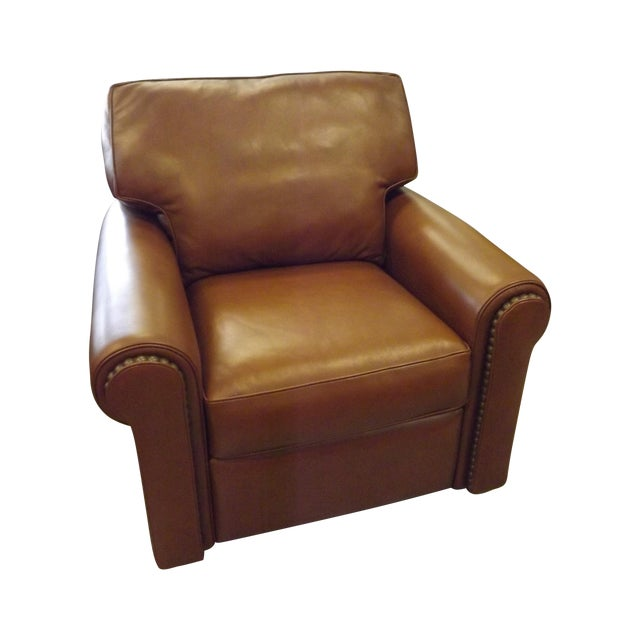 Brown Leather Swivel Recliner With Nailhead Trim - Image 1 of 5
