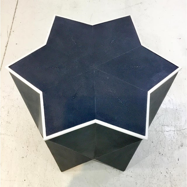 Modern Worlds Away Modern Navy Faux Shagreen Astro Side Table For Sale - Image 3 of 4