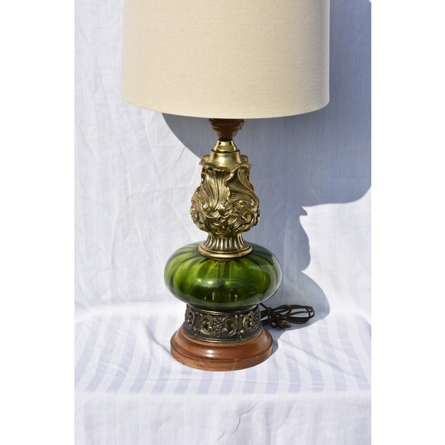 1900 - 1909 Hollywood Regency Mode Green Murano Glass Lamp For Sale - Image 5 of 10