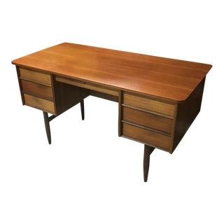 1960s Danish Modern Teakwood Locking Tanker Desk With Bookshelf and Key For Sale