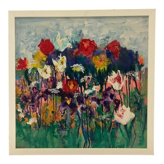 1960s Flowers Oil Painting For Sale