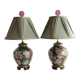 Chinoiserie Floral Table Lamps, a Pair For Sale