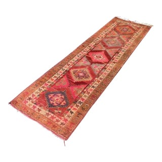1940's Vintage Turkish Kilim Rug-2′8″ × 9′4″ For Sale