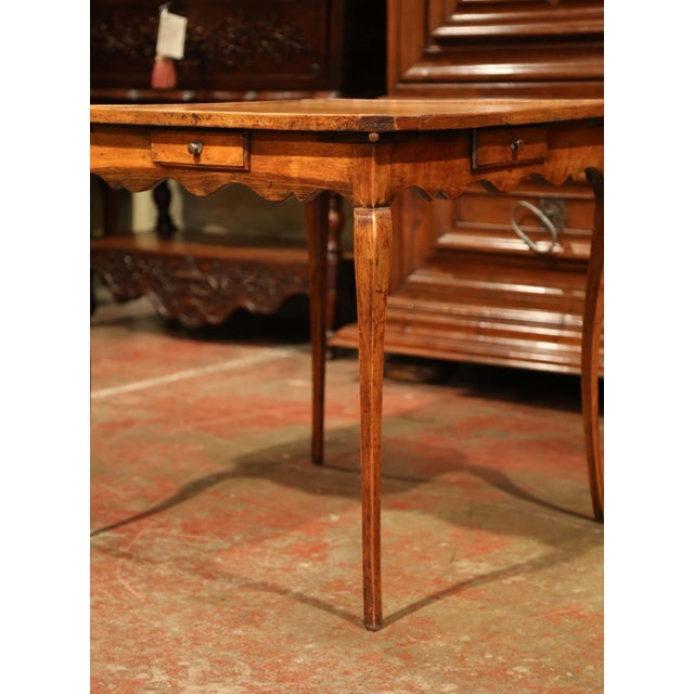 19th Century French Four-Drawer and Glass Holder Game Table With Leather Top For Sale In Dallas - Image 6 of 10