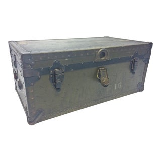 Vintage Industrial US Military Green Foot Locker Trunk with Key