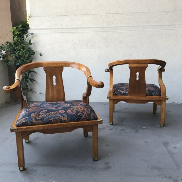 Mid-Century Regency Horseshoe Chairs - A Pair - Image 4 of 7