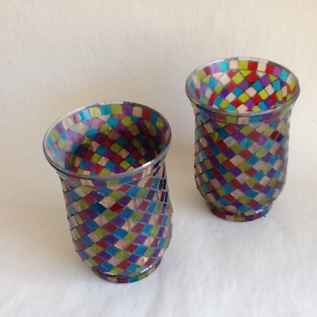 Moroccan Mosaic Glass Candle Votives - A Pair - Image 3 of 8
