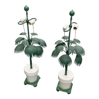 Vintage Palm Frond Table Lamps - a Pair For Sale